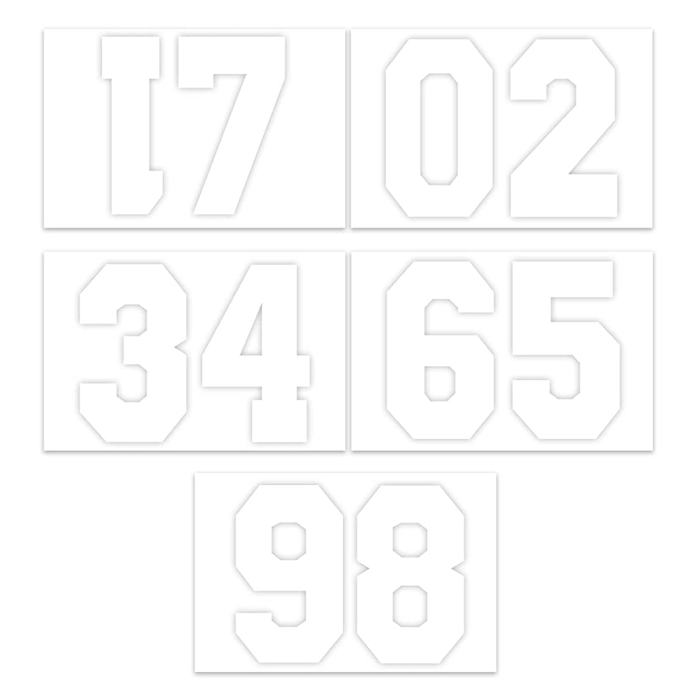 RUSPEPA 8 Inch Number Transfers for Sport T-Shirt,White(1 Sheet)
