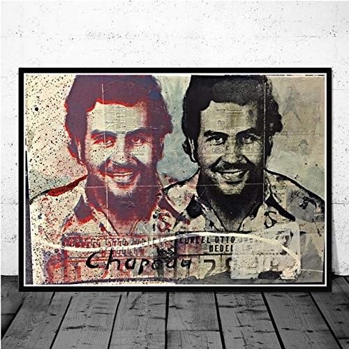 yiyiyaya Pablo Escobar Character Legend Retro Vintage Poster and Prints Painting Wall Art Canvas Wall Pictures Home Decor картины plakat 60x90cm