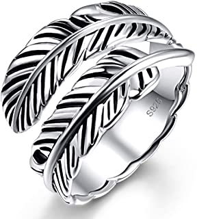 AVECON 925 Sterling Silver Adjustable Feather Ring Vintage Statement Leaf Ring for Women Men