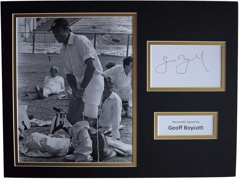 Sportagraphs Geoffrey Boycott Signed autograph 16x12 photo display Cricket Sport AFTAL COA