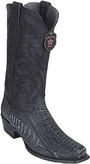 Genuine Ostrich Leg Faded Black Square Toe Los Altos Men's Western Cowboy Boot 580574