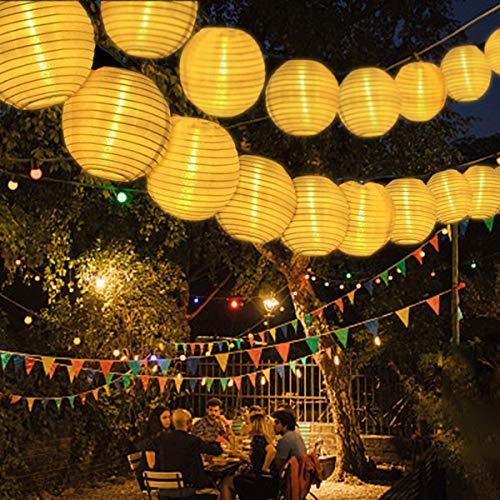 Solar Lichterkette Außen Lampions, FOCHEA Lichterkette Außen 9,3 m 50 LED 8 Modi IP65 Wasserdicht Solar Lichterketten mit Fernbedienung und 3 Ersatzlaternen für Aussen,Garten, Party Warmweiß