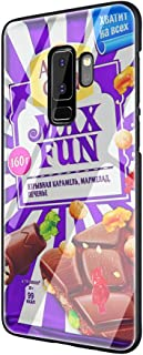 Alenka bar Wonka Chocolate Tempered Glass TPU Black Cover Case for Samsung Galaxy S7 Edge S8 S9 Plus S10 Note 8 9 (G9,for Samsung S10)
