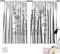Ediyuneth Double Curtain Rod Live Laugh Love,Doodle Style Quote with Flowers Hearts and Stars Coloring Book Design,Black White 72