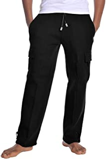 Quality Mens Cargo Long Sweatpants Fleece Pants Heavy Weight Gym Work Out #SHAS
