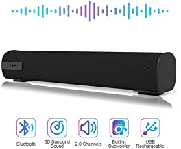 Sound Bar Bluetooth Wired and Wireless Mini Soundbar Surround Sound Home Theater Built-in Subwoofers for TV/PC/Phones/Tablets with Remote Control AUX/TF Card 2 X 5W 16.9 Inches