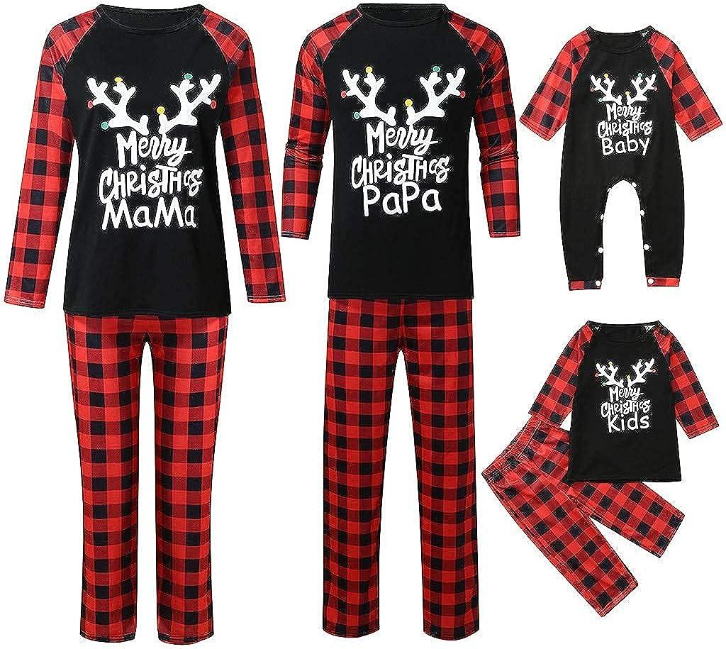 Goldweather Christmas Family Matching Pajamas Winter Holiday Xmas Pjs Sleepwear Letter Plaid Printed Long Sleeve Pjs Sets