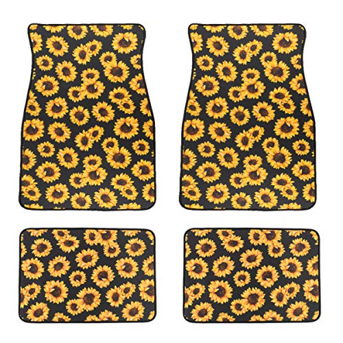 Ldntly 4Pack Sunflower Front and Back Car Mats,Car Mats,Car Floor Mats Front Car Mats Rear Car Mat,Car Mats for Women,New Car Floor Accessories,Fit Car Floor Mats Fit for SUV,Vans,sedans,Trucks