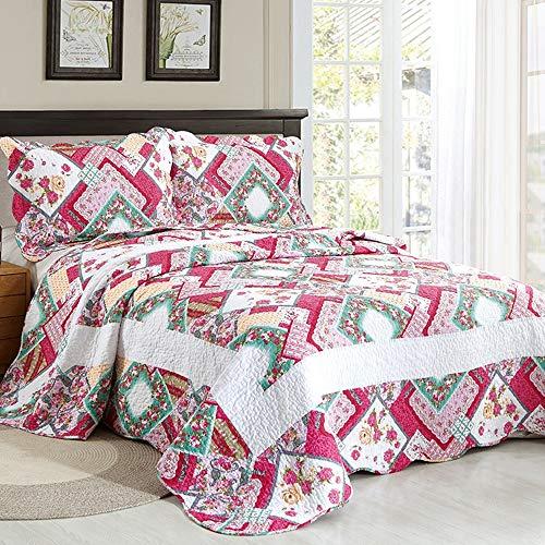 ADGAI sprei King Size Misto roze patroon bloemenpatroon 3 stuks diffusies deken set 230 x 250 cm met 2 kussens