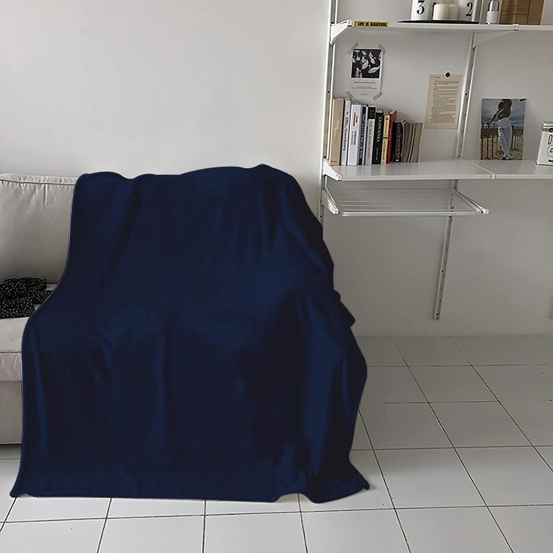 Super special price COLORSUM Soft Fleece gift Bed Blanket Blue Dark War Solid Color