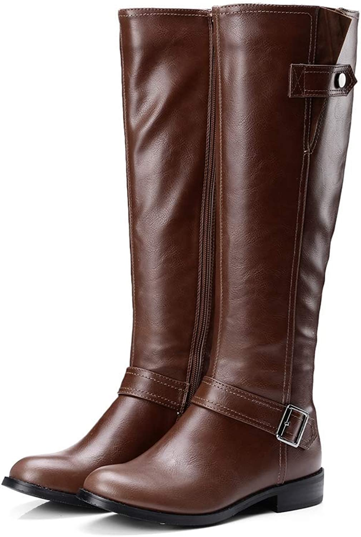 Webb Perkin Women Low Heel Fashion Short Plush Boot Lady Knee High Boots Lady Belt Buckle Zipper Female shoes