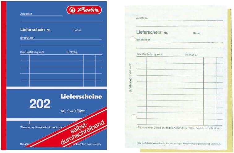 Herlitz 883512 Lieferscheinbuch A5 2 X 50 Blatt Mit Kohlepapier 10 Stück Bürobedarf Schreibwaren