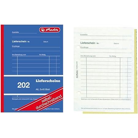 Herlitz 883553 Lieferscheinbuch A6 2 X 40 Blatt Selbstdurchschreibend 5 Stück Bürobedarf Schreibwaren