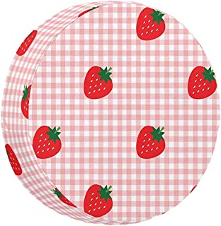 Olive Croft Red and White Pattern with Strawberries Nylon Fabric Weatherproof Spare Tire Cover 14-17inch