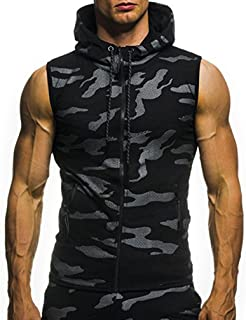 39ae12bfd WYTong Men's Workout Hooded Tank Tops Bodybuilding Muscle T Shirt Summer  Sleeveless Gym Hoodies