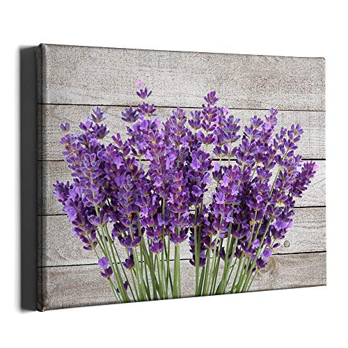 PKONE Lavender Canvas Framed Wall Art Decor Purple Floral Painting Rustic Flower Blossom Home Artwork Print for Bedroom Bathroom Living Room Decoration 16x12 Inches
