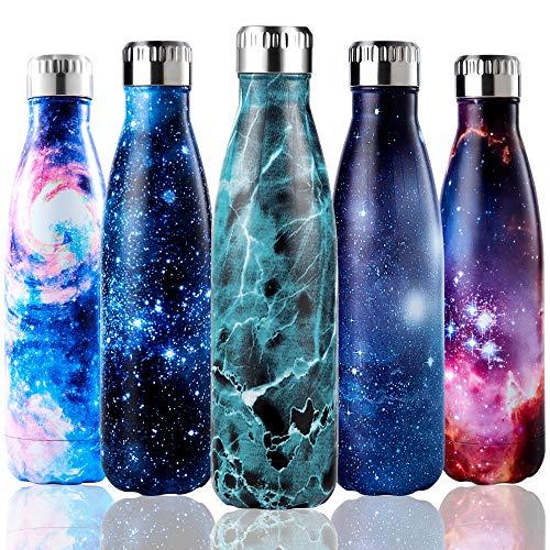 Shinemefly Edelstahl Trinkflasche Thermosflasche Auslaufsicher Vakuumisolierte Sportflasche BPA-frei Vakuum Wasserflasche für Kinder, Reisen, Fahrrad, Yoga, Sport und Outdoor (Blauer Marmor, 500ML)