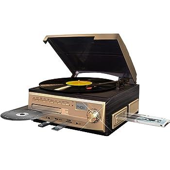 ベルソス マルチレコードプレーヤー 【 レコード カセット CD ラジオ USB SD 外部音源 】 再生/録音可能 ステレオ ブラウンウッド調 MP9260 (シャンパンゴールド)