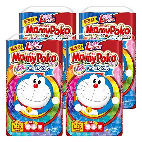 [Pants L Size] Mami Poco Pants Doraemon Diapers (9 - 15 kg) 168 Sheets (42 Sheets x 4) [Case Product] [Amazon.co.jp Exclusive]