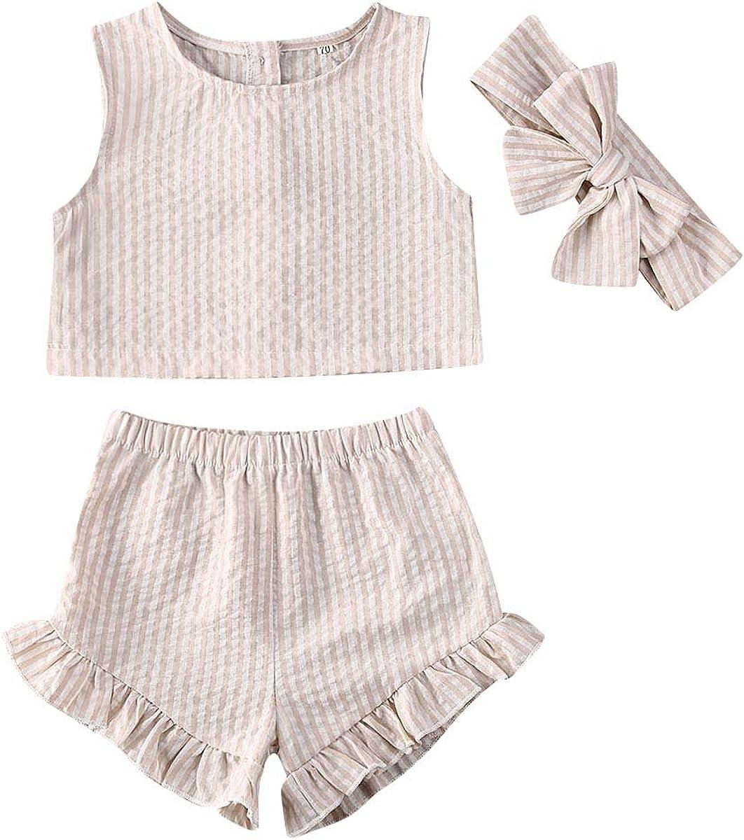 3Pcs/Set Toddler Baby Girl Striped Outfit Tank Crop Top + Ruffled Shorts + Headband Summer Clothes