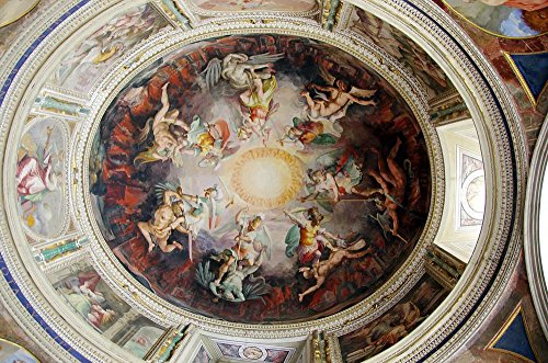 Gifts Delight Laminated 36x24 inches Poster: Italy Rome Vatican Museum Ceiling Painting Fresco Marble Decoration