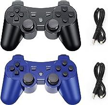 OKHAHA Wireless Controller for PS3, 2 Pack, OKHAHA Gamepad Controllers سازگار با Playstation 3, Double Shock, 6-Axis (مشکی + آبی)