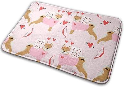 """Shiba Inu Love Bug Cupid Dog Breed Pink_24948 Doormat Entrance Mat Floor Mat Rug Indoor/Outdoor/Front Door/Bathroom Mats Rubber Non Slip 23.6"""" X 15.8"""""""