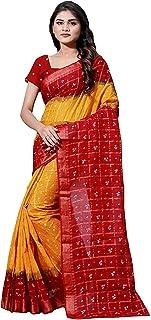 ساري نسائي أحمر Bandhani Bandhej Khadi Silk مع قطعة بلوزة (مقاس مجاني_متعدد الألوان)