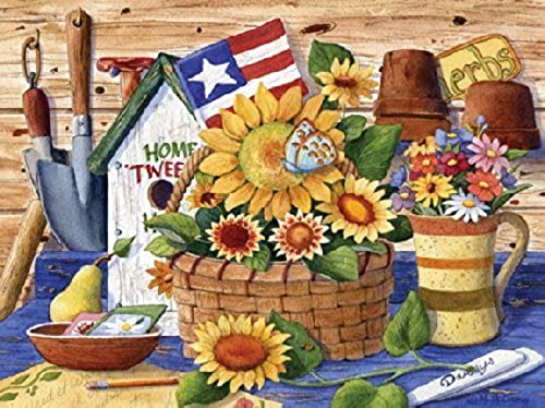 Puzzle Collector Art 500 Piece Puzzle - Sunflowers And Flag by Lafayette Puzzle Factory