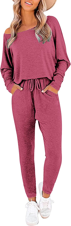 Ekouaer Sleepwear for Women Two Piece Pajamas Set with Pockets Boat Neck Sleep Set Long Sleeve Womens Lounge Sets