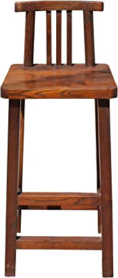 Chair & Bed Rough Wood Brown Zen Oriental Bar Stool w Back Acs4178