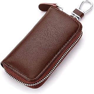 Car Key Holder Multifunction Leather Zipper Key Case Business Key Wallet (Brown)