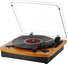 Bluetooth Turntable,JOPOSTAR Vinly Record Player Built-in Dual Stereo Speakers, LP 3-Speed Belt Driven, Aux Input & RCA Output, Natural Wood (9F-6VH7-HRQZ)