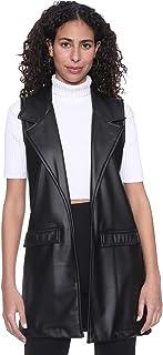 Andiamo Fashion Faux Leather Flap Pockets Notched Lapel Solid Vest for Women L