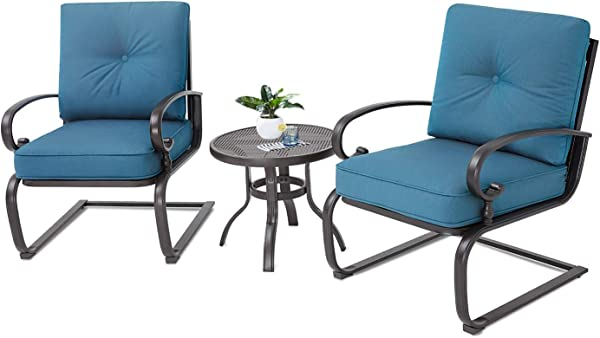 Oakmont Outdoor Bistro Set 3 Piece Spring Metal Lounge Cushioned Chairs And Bistro Table Set Wrought Iron Cafe Furniture Seat Peacock Blue