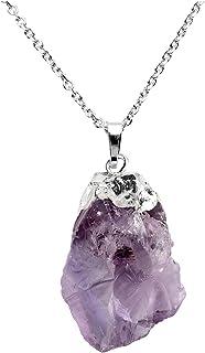QGEM - Collar con colgante de energía de chakra, piedra natural en forma irregular, para mujer y niña, mejor amiga