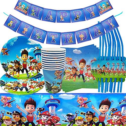 Décoration d'anniversaire d'enfant Paw Dog Patrol - Vaisselle de fête - Assiettes, gobelets, serviettes, nappe, pailles, etc.