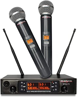 Phenyx Pro Dual UHF Wireless Microphone System, Cordless Mics for 250ft Long Range Professional Performance, Multichannel, Metal Built, 16h Battery Life, Ideal for Public Address(PTU-71-New)