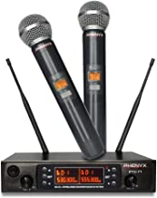 Wireless Microphone System, Phenyx Pro Dual UHF Cordless Mic Set with Handheld Mics, All Metal, 2x200 Channels, Interference-Free Long Distance Operation, Ideal for Karaoke, Church, Weddings(PTU-71A)