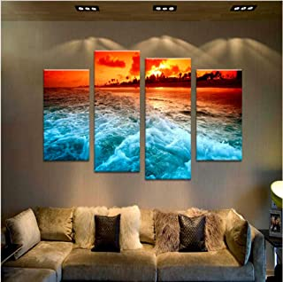 Aisufen Wall Pictures 4 Panel Beach Sundown and The Tide Wall Painting Print On Canvas for Home Decor s Paints On Art Framed-30X60/80cmX2