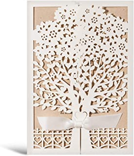 WISHMADE Rustic Laser Cut Wedding Invitations Ivory Invitation Cards with Kraft Insert for Engagement Baby Shower Birthday Quinceanera 50 Pieces (50 Pieces)