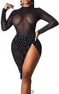 OLUOLIN Womens Sexy Mesh Long Sleeve Bodycon Dress Printing Drawstring Lower Hem