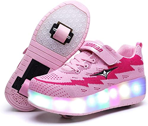 Ufatansy Kids Boys Girls High-Top Shoes LED Light Up Sneakers Single Wheel Double Wheel Roller Skate Shoes Best Hallo...