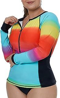 4cfafad669caf Aleumdr Womens Long Sleeve Rashguard Swimsuit Zip Front Color Block Print Tankini  Swimsuit No Bottom Plus