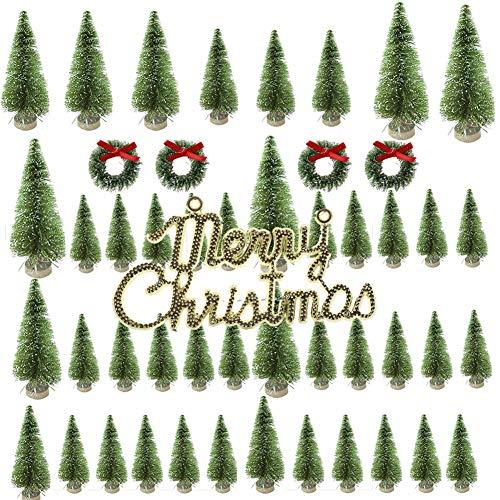 Mini Albero di Natale, Multicolore Mini Alberi Sisal di Natale Artificiale, Piccolo Albero di Natale per Decorazione Tavolo di Festa di Natale (49PCS B)
