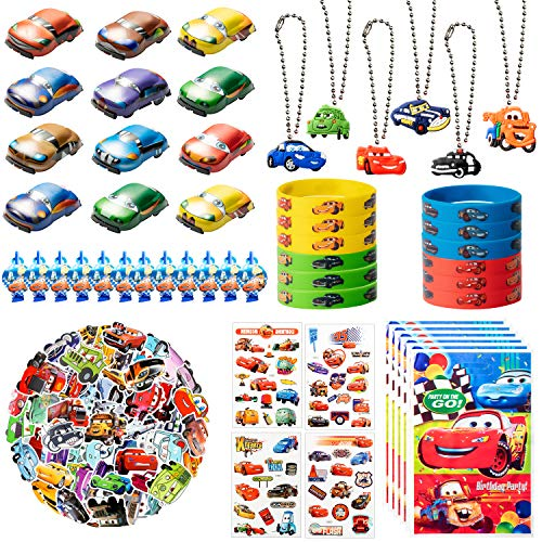 122Pcs Race Cars Party Supplies Kit, Lightning McQueen Party Favors All-in-one Package Party Supplies Including Cartoon Tattoo Stickers Mini Model Cars Bracelet Goodie Bag for Boys