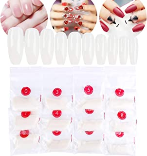 False Nail Tips - 600 Pieces Full Cover Fake Nails Coffin Shape, Ballerina Nail for Women Girls Gel Nail Decoration 10 Different Sizes