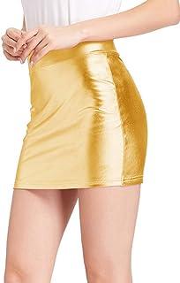 Kate Kasin Stretchy Shiny Metallic Mini Skirt for Women Nightout Wear