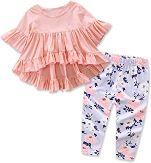 AoifmRXS Baby Girl Short Sleeved Lotus Leaf Dress + Trousers 2 Pieces
