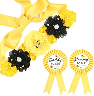 Yellow Maternity Sash & Mommy Daddy Corsage Set - What Will Baby Bee Baby Shower Gift Set Mommy Sash Pregnancy Sash Keepsake Baby Shower Flower Belly Belt